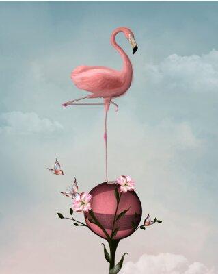 Image Surréaliste, composition, flamant, fleurs