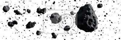 Image swarm of asteroids isolated on white background