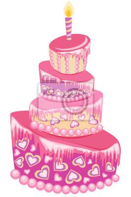 Image Sweet Gâteau De Mariage Rose Isolé Sur Un Fond Blanc