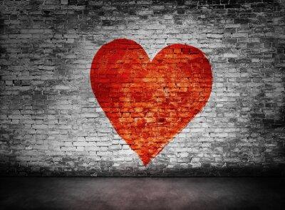 Image Symbole, amour, peint, obscur, brique, mur