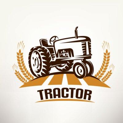 Image Symbole de vecteur tracteur rétro