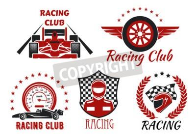 Image Symboles des compétitions de clubs et de courses automobiles avec des voitures de course à roues ouvertes, un coureur, un casque protecteur et une roue à ailettes, encadrés par un indicateur de vitess