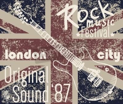 Image T-shirt Design d'imprimerie, graphiques typographiques, illustration vectorielle du festival Rock de Londres avec drapeau grunge et croquis dessin à la main Badge Applique Label.