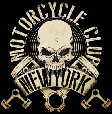 Image T-shirt vintage d'emblème de crâne de motard