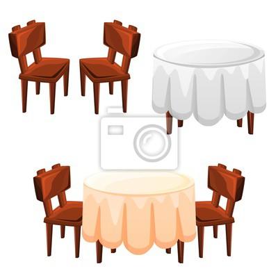 Table Et Chaises Pour Cuisine Bar Restaurant Isolé Sur Fond