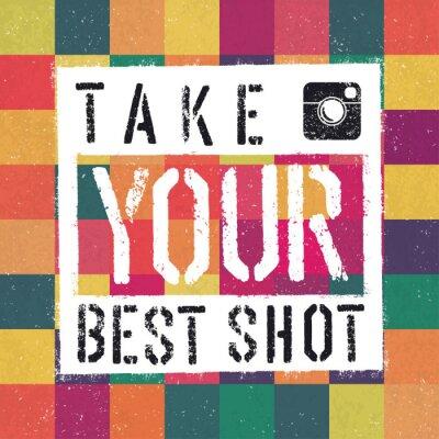 Image Take You affiche BEST SHOT. Avec abstrait coloré texturé backg