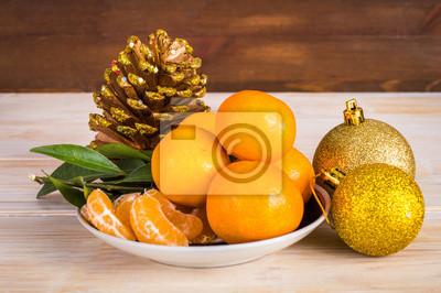 Tangerine, noël, balles, bois, fond