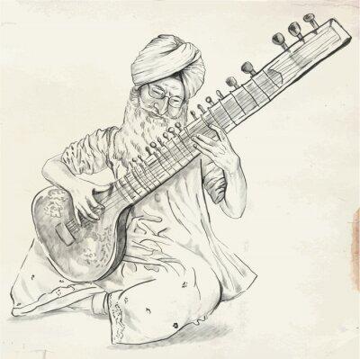 Image Tanpura joueur - illustration vectorielle (converti)