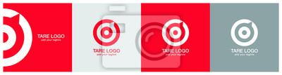 Image Target logo design on red, ash and grey backgournd. The logo represents Red aim, arrow, compass, speech bubble, Idea concept, perfect hit, winner, target goal icon. Corporate identity set.
