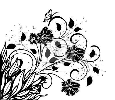 Tarte Floral Noir Et Fleurs Peintures Murales Tableaux Boucle