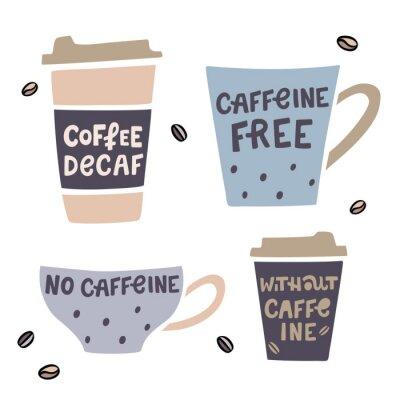 Image Tasse à café illustrée à la main avec inscription dessinée à la main. Illustration vectorielle de café décaféiné