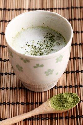 Tasse, vert, thé, latte