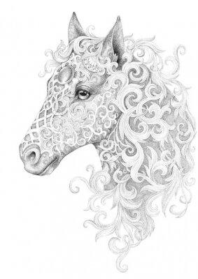 Image Tatouage, belle tête de cheval avec une crinière