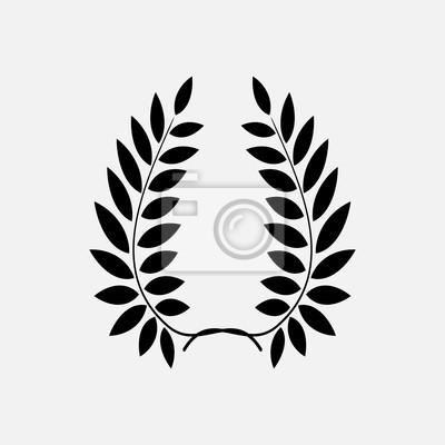 Tatouage Couronne De Laurier Ornement Noir Signe Sur Fond Blanc
