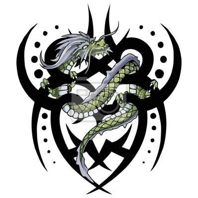 tatouage de dragon tribal torsion vecteur peintures. Black Bedroom Furniture Sets. Home Design Ideas