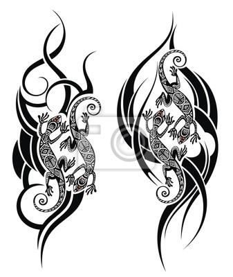 Tatouage De Lezard Peintures Murales Tableaux Belle Coloration Salamandre Myloview Fr