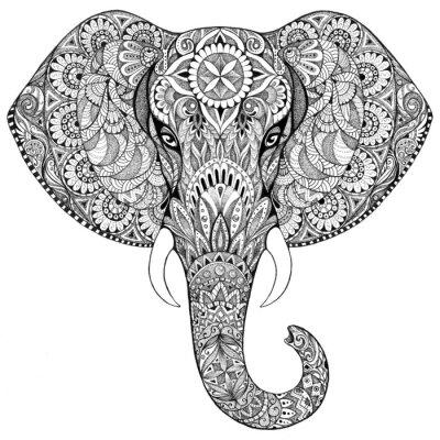 Image Tatouage éléphant avec des motifs et ornements