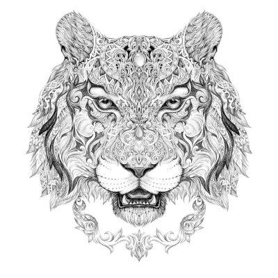 Image Tatouage, graphiques tête d'un tigre