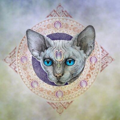 Image Tatouage, les chats de tête dans le cercle