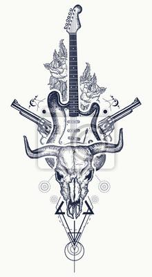 Tatouage Rock And Roll Crapaud Fusils Roses Guitare Electrique
