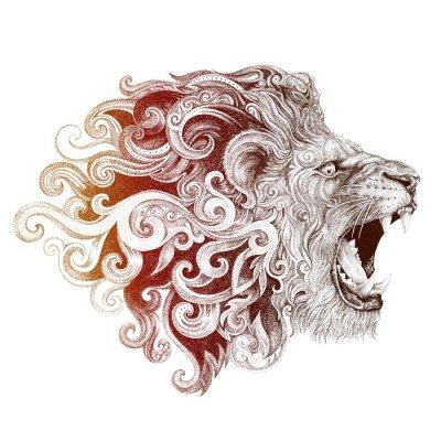 Image Tatouage, tête, grinning, lion