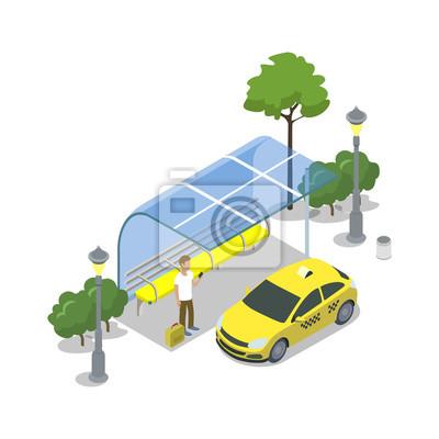 Image Taxi taxi arrêt icône 3D isométrique