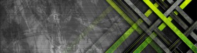 Image Tech green stripes on abstract grey grunge corporate header banner. Vector geometric background