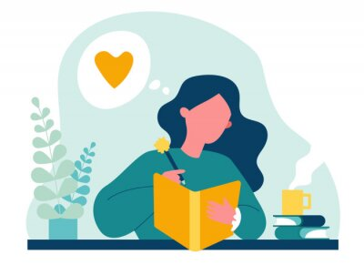 Image Teenage girl writing diary or journal. Happy young woman reading book and taking notes with pencil. Vector illustration for journal, author, student, teenager in love concept