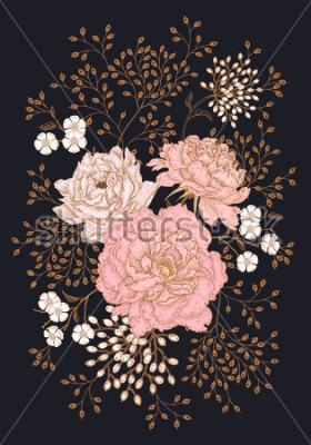 Image Template vintage card for the design of wedding invitations, greetings. Floral exotic vintage decoration. Garden flowers peonies. Ancient oriental style. Vector illustration art.