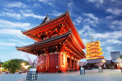 Image Temple d'Asakusa avec la pagode la nuit, Tokyo, Japon