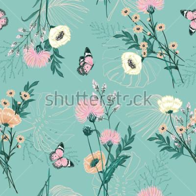 Image Tendance Pastel de nombreux types de fleurs de jardin, plantes, botanique, papillons, dessin vectoriel sans soudure pour la mode, tissus, papiers peints et tous les imprimés sur la couleur de fond men