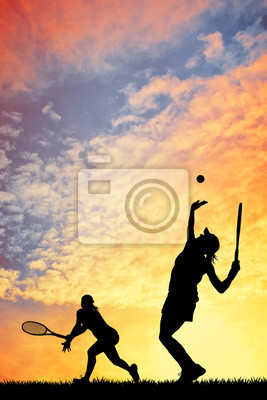 Image Tennis au coucher du soleil