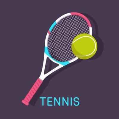 Image Tennis, raquette, fond brun boule