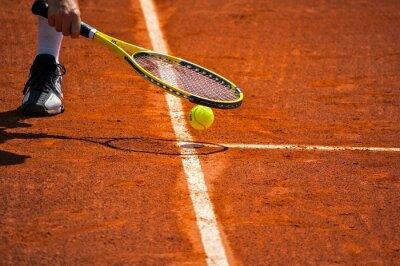 Image Terrain de tennis, raquette balle et jaune