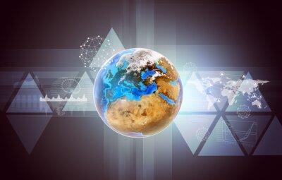Image Terre avec carte du monde