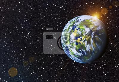 Terre, planète, soleil, étoiles, fond, fusée