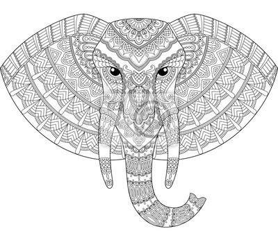 Image Tête d éléphant en style zentangle. Site de coloration antistress  adulte. Doodle a6e284feba6