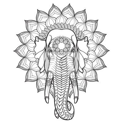 Tete Delephant Sur Lotus Mandala Motiff Populaire Dans Les