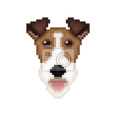 Image Tête De Chien Fox Terrier Dans Un Style Pixel Art Illustration