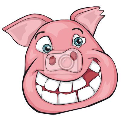 Cochon Dessin tête de cochon style de dessin animé. peintures murales • tableaux