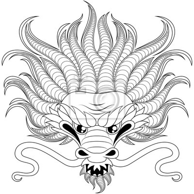 Tete De Dragon Chinois Dans Le Style Zentangle Pour Tatouage