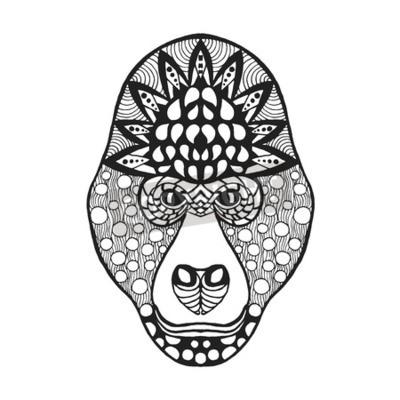 Coloriage Anti Stress Indien.Image Tete De Gorille Coloriage Antistress Pour Adultes Noir Blanc