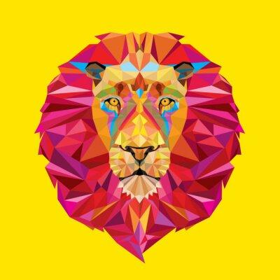 Image tête de lion en motif géométrique