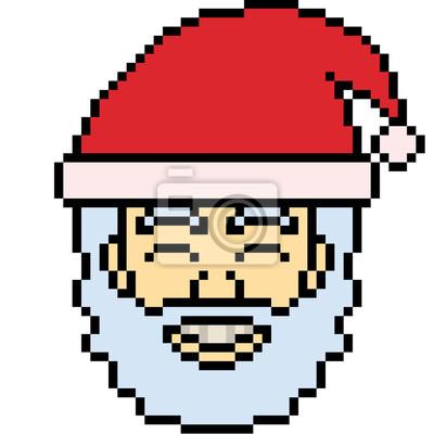Image Tête De Père Noël Vector Art Pixel