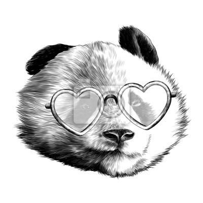 Image Tête Panda Différentes émotions Avec Des Lunettes Amoureux Esquisser