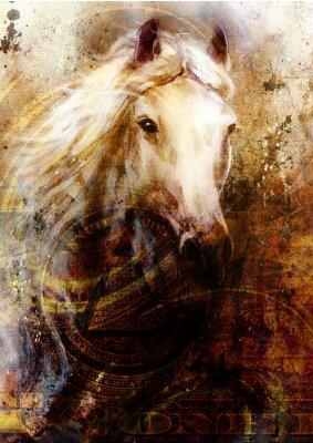 Image têtes de chevaux, abstrait ocre, avec le collage d'un dollar.