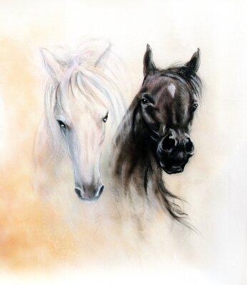 Image Têtes de chevaux, deux esprits de cheval noir et blanc, beau détail