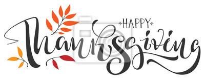 Image Texte de calligraphie Happy Thanksgiving pour carte de vœux