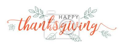 Image Texte de calligraphie Thanksgiving heureux avec des feuilles vertes illustrées sur fond blanc, typographie de vecteur