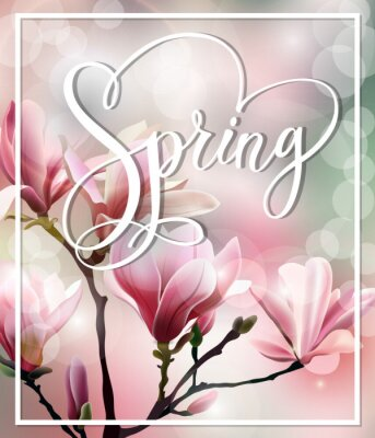 Image Texte de ressort avec le brunch de fleur de Magnolia avec l'effet flou. Printemps de fond. Modèle de vecteur.